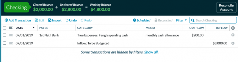 cash withdrawal from checking account categorized to Fang's Spending Cash with an outflow of $200; memo reads monthly cash allowance