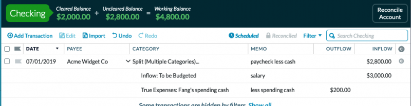 transaction depicts the deposit of a $3,000 check less $200 cash back received from the teller and categorized to Fang's spending cash