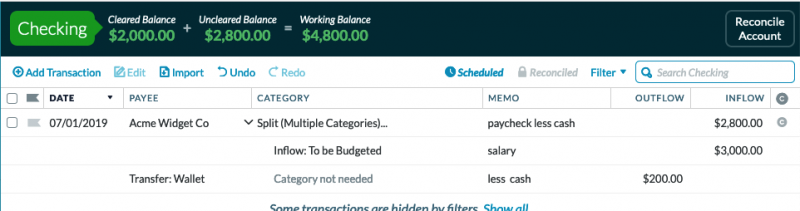 transaction depicts a split transaction with an inflow of $3,000 to checking when check is deposited and $200 outflow categorized as a transfer to the Wallet account