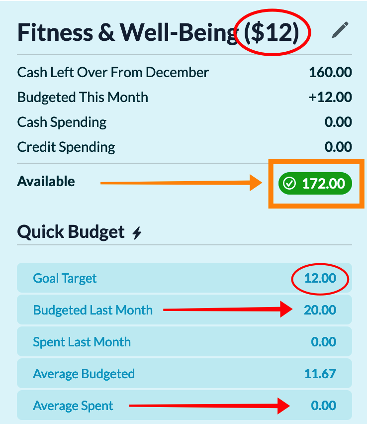 Fitness & Well-Being ($12); Leftover from Dec: $160; Available: $172; Budgeted Last Month: $20; Average Budgeted: $11.67; Average Spent: $0