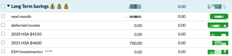 "author's YNAB ""Long Term Savings"" category group includes: ""2020 HSA $4550"" and ""2021 HSA $4600"""
