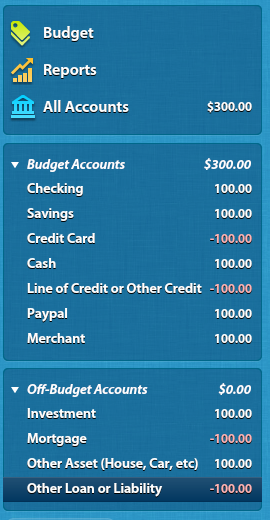 Account types on YNAB screen