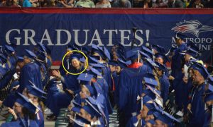 me in a sea of fellow graduates