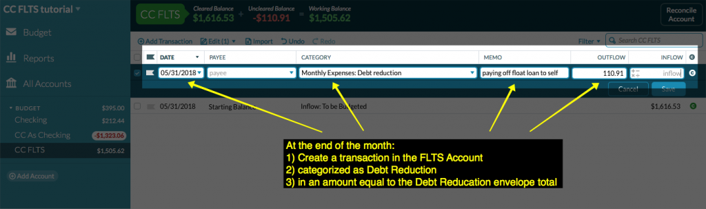 screenshot of transaction entered in CC FLTS account register