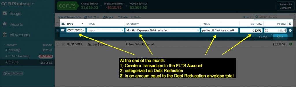 screenshot of transaction entered in CC FLTS account register