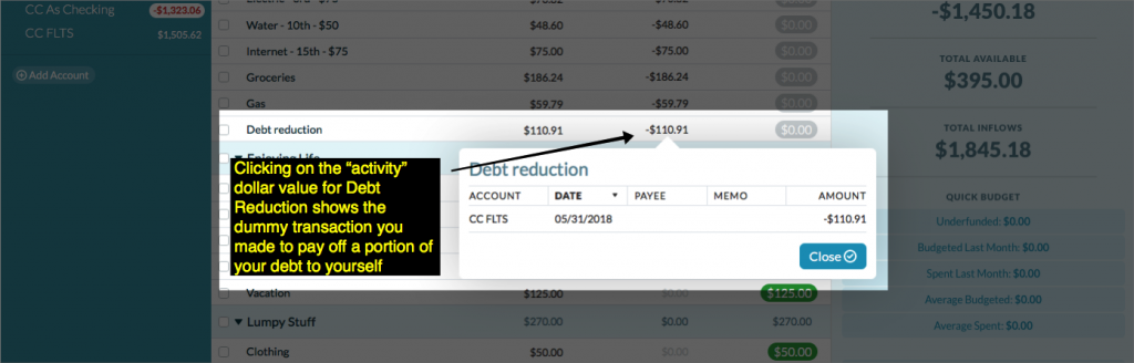 screenshot of Debt Reduction transaction details in budget screen