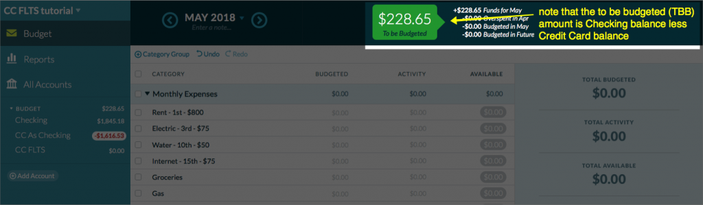 screenshot of available cash after subtracting outstanding credit card balances