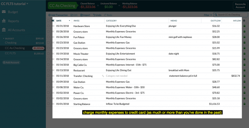 screenshot of credit card account register with demo transaction data
