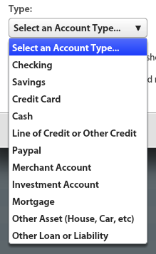 In YNAB's Create a New Account wizard, the dropdown box for Account Type includes 11 options: Checking, Savings, Credit Card, Cash, Line of Credit or Other Credit, Paypal, Merchant Account, Investment Account, Mortgage, Other Asset (hour, Car, etc), Other Loan or Liability