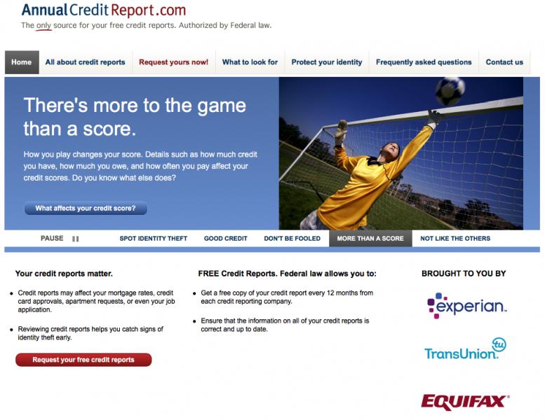 screenshot of AnnualCreditReport.com website landing page