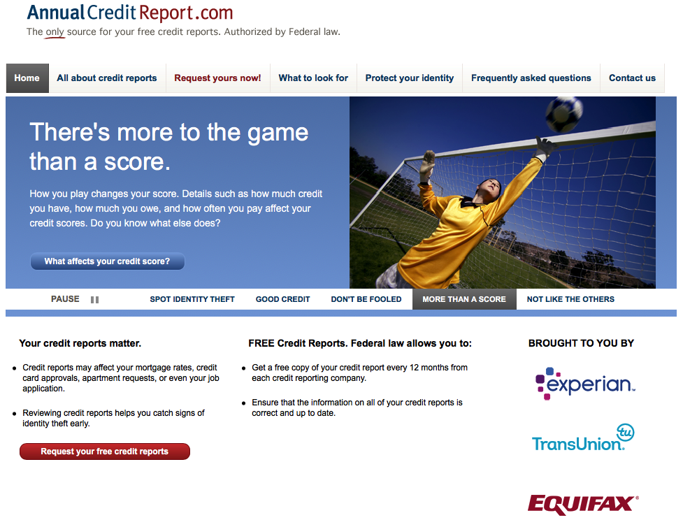 screenshot of AnnualCreditReport.com website landing page