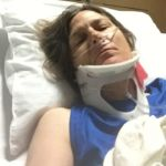 me in a neck brace with an oxygen tube just after my accident
