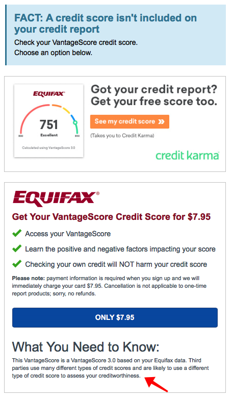 they'll try to upsell your credit score