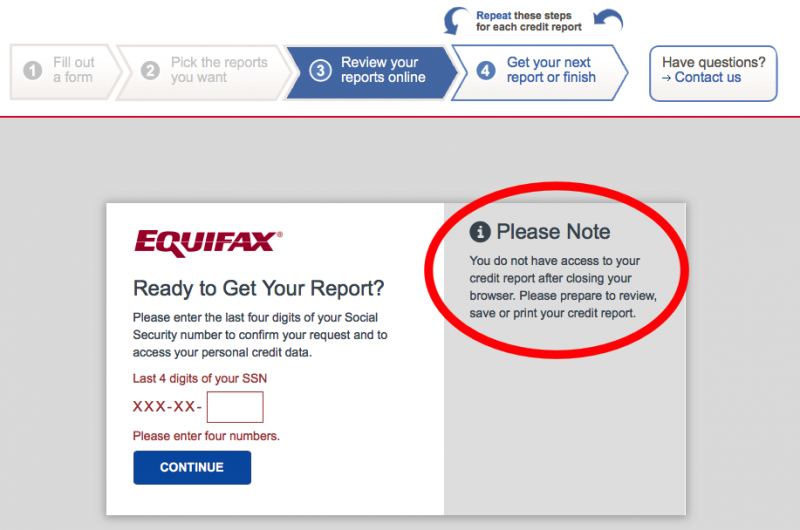 Equifax warning to save report before closing browser window